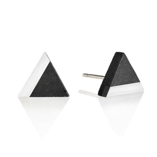 Náušnice Triangle Steel – antracit