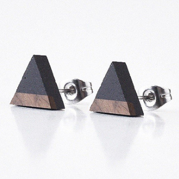 Náušnice Triangle Wood – antracit