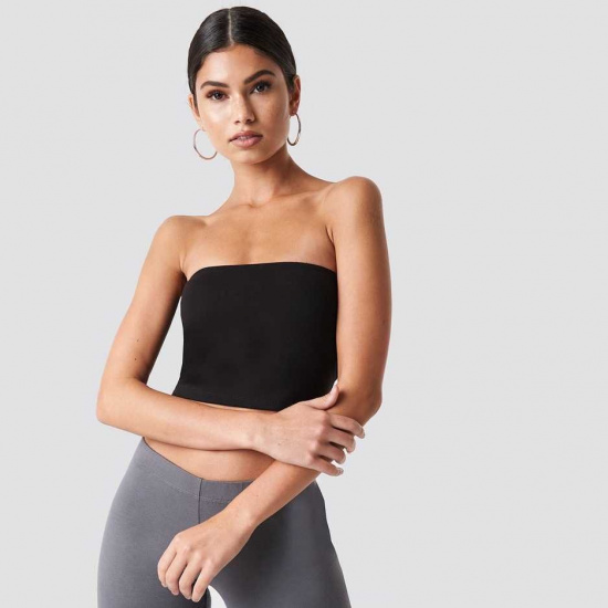 Čierny bandeau top Nicki × NA-KD Basic Midi