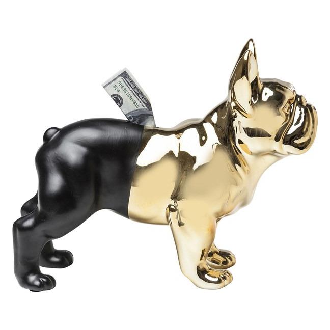 KARE DESIGN Pokladnička Bulldog Gold-Black